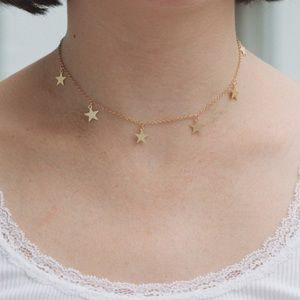 5 for $25 Handmade Gold Star Charm Choker Necklace